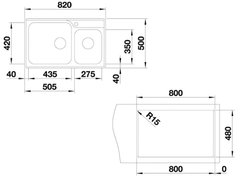 bản vẽ kỹ thuật chậu inox blanco hafele 570.27.189
