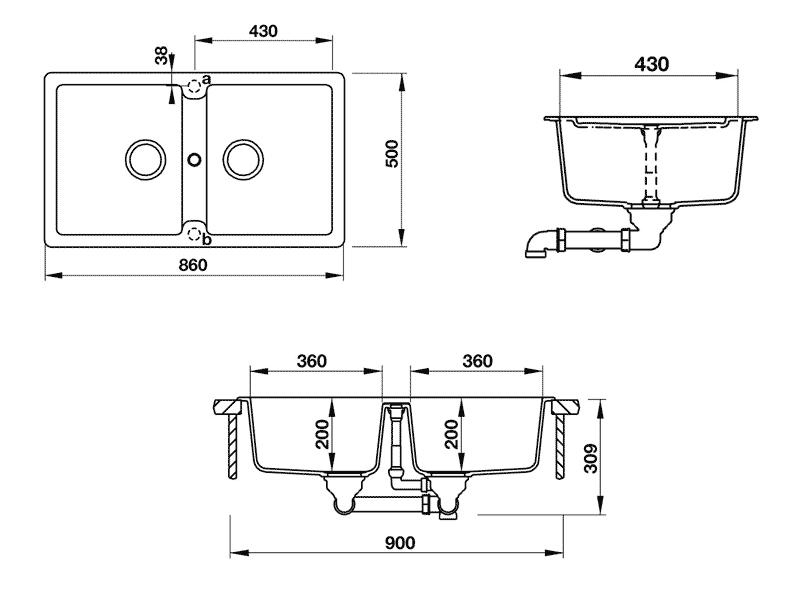 bản vẽ kỹ thuật chậu đá hafele HS-GD8650