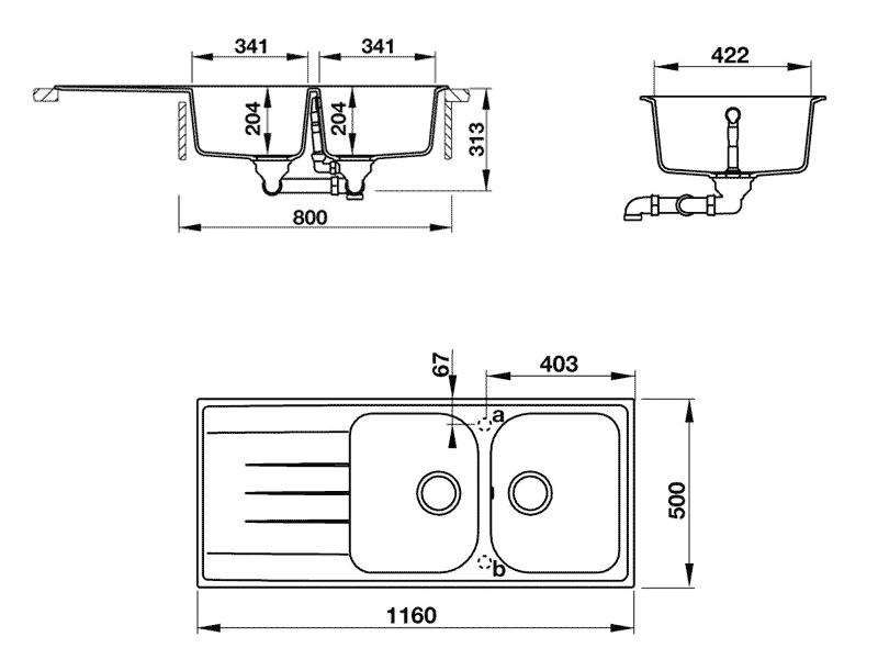 bản vẽ kỹ thuật chậu rửa chén đá hafele HS-GDD11650