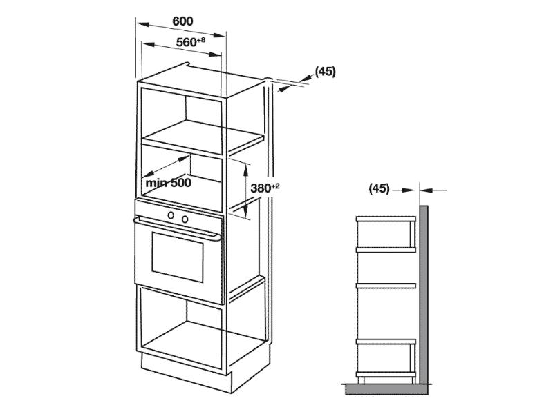 bản vẽ kỹ thuật Lò nướng âm tủ hafele 538.31.200 HM-B38D