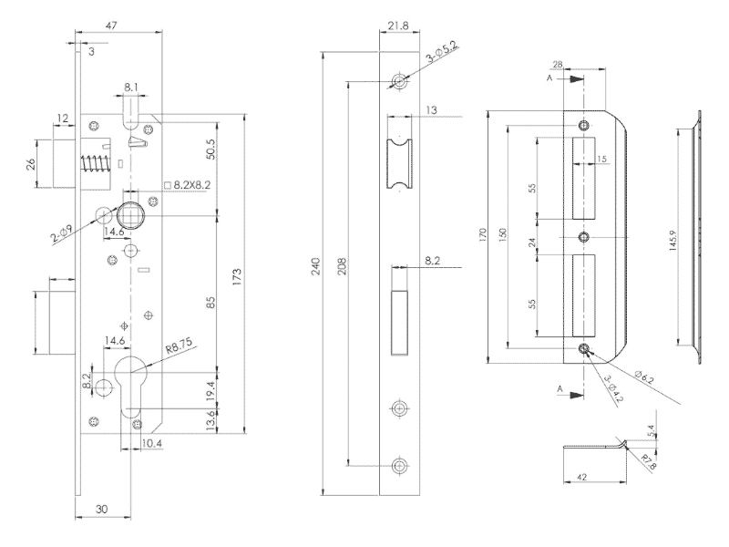 bản vẽ kỹ thuật thân khóa hafele 911.77.263